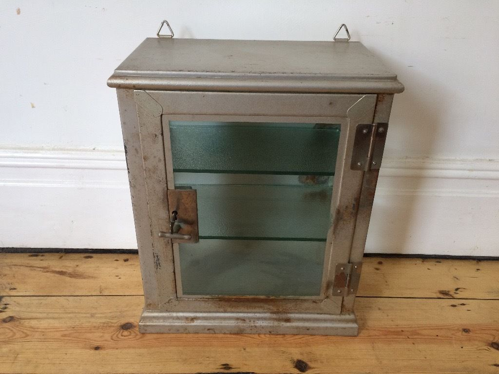 Vintage Industrial Metal Medical Display Cabinet