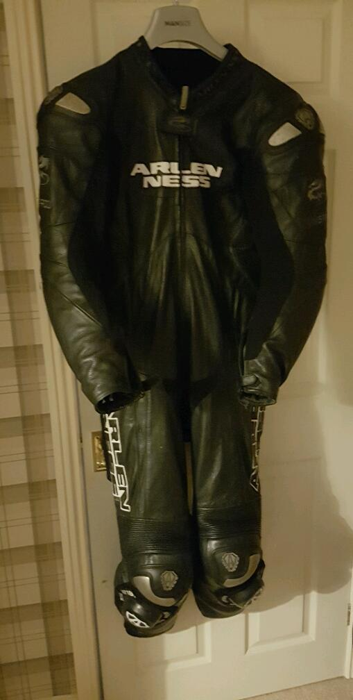 Arlen Ness One Piece Motorcycle Leathers. Good Condition. Size 44.