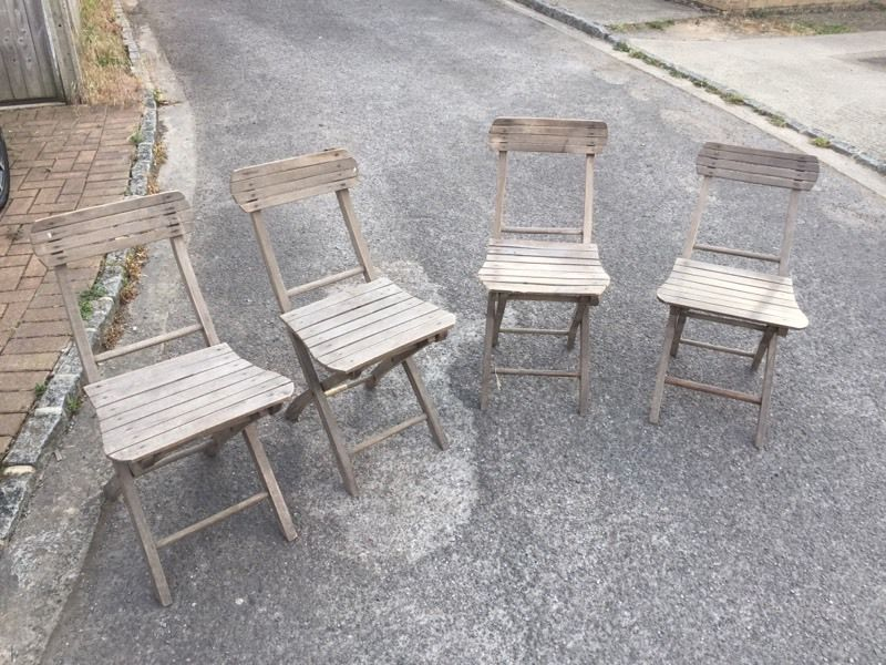 Antique Patio Folding Chairs. Good condition, Can deliver
