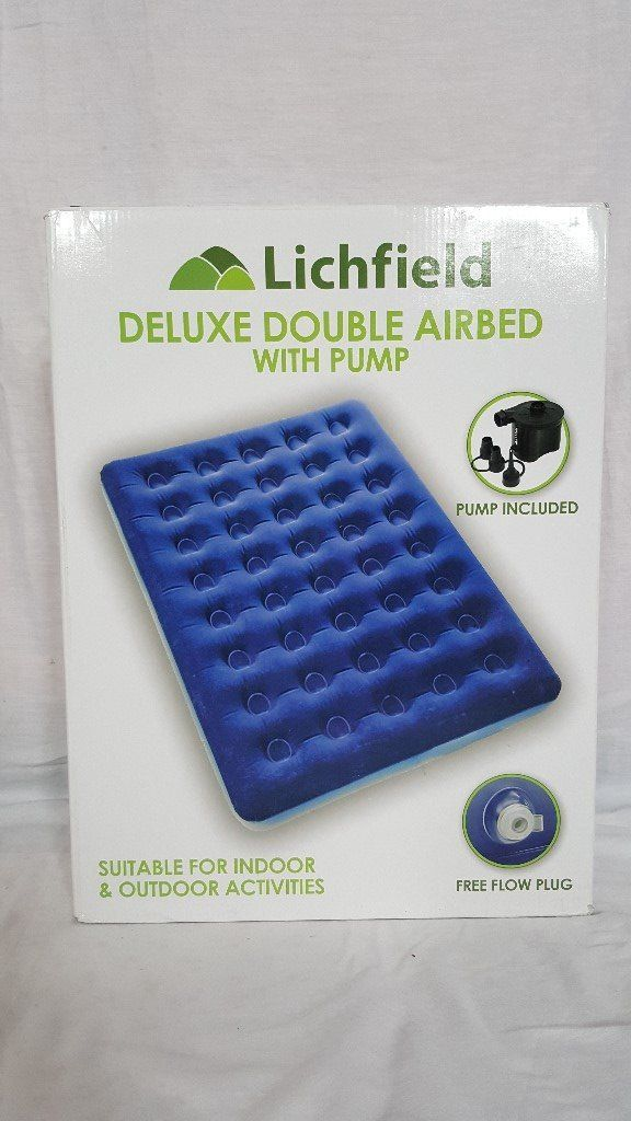 Lichfield Double Camping Air Bed with Pump