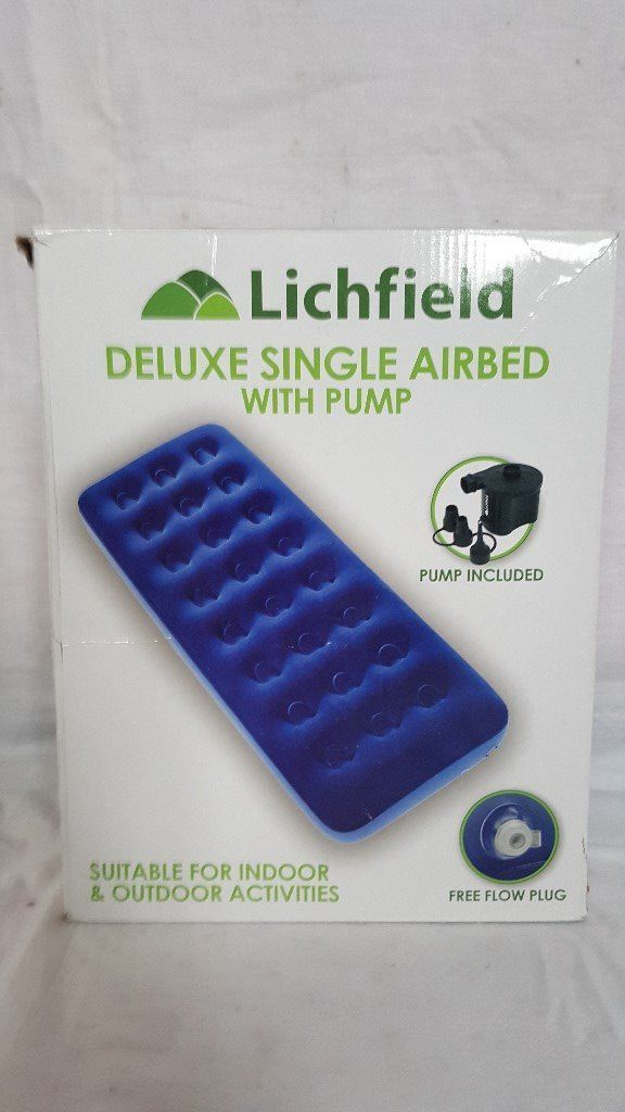 Lichfield Single Camping Air Bed with Pump