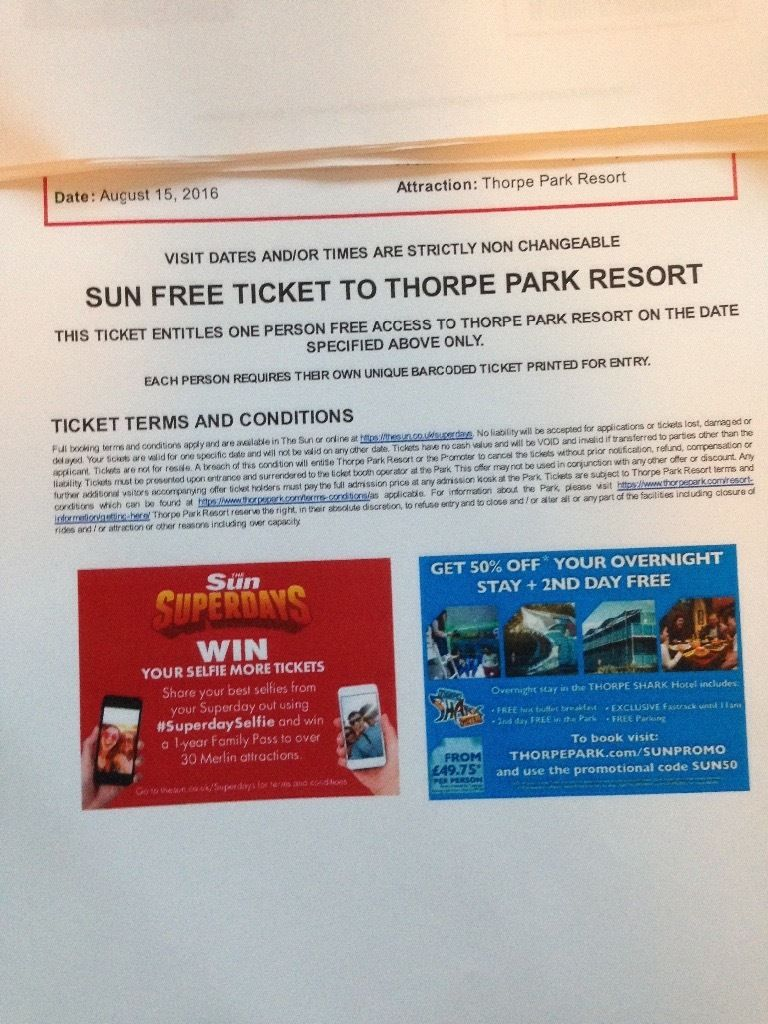 4 X THORPE PARK TICKETS - MONDAY 15TH AUGUST