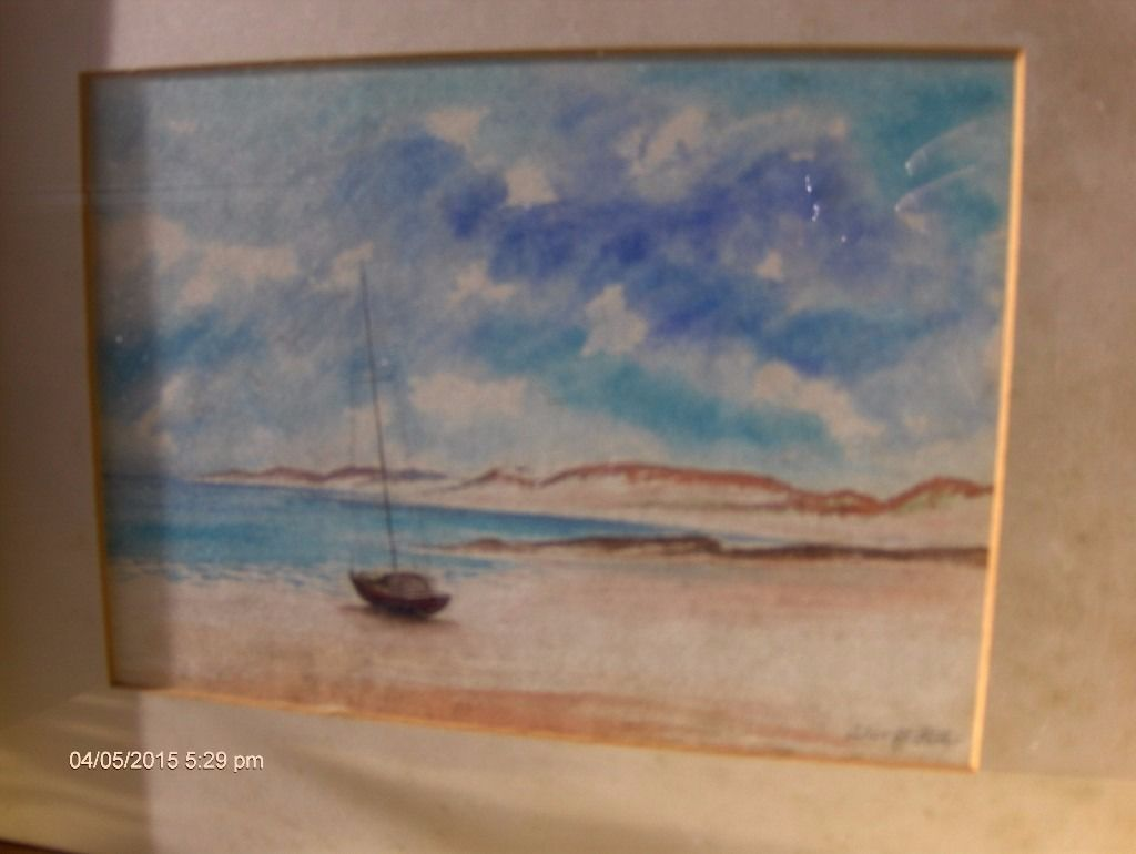 Framed And Glazed Seaside Large Painting with Signed