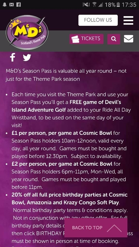 M &D S SEASON TICKET FOR 3