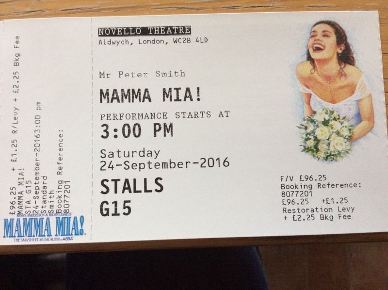 3 x Mamma Mia tickets . Novello theatre, London. 24th Sep 2016. 3:00pm.