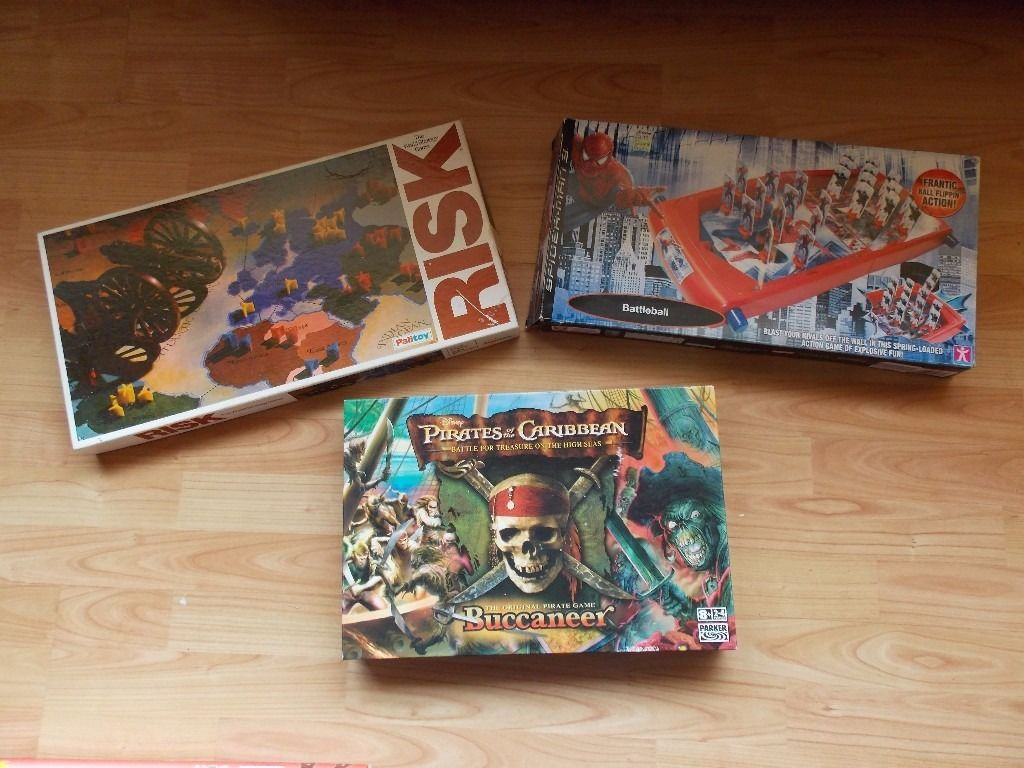 Boxed games - Risk, Pirates of the Caribbean Buccaneer & Spider-man Ball Shooting Game