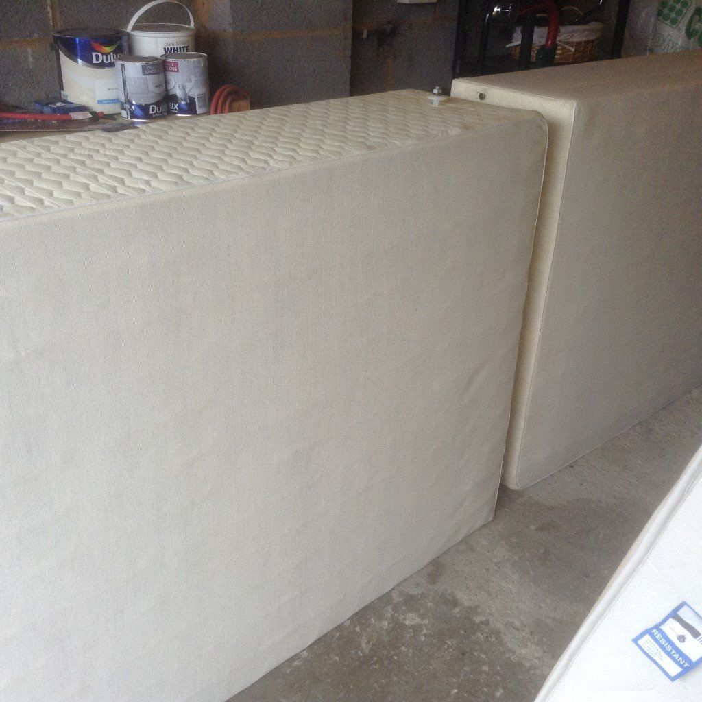 Free King Size Divan Bed with 4 Storge boxes, Mattress and White Headboard