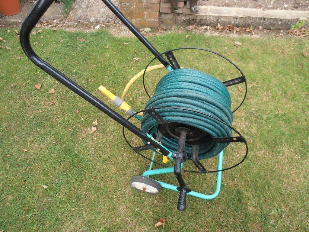 Garden hose on a trolley