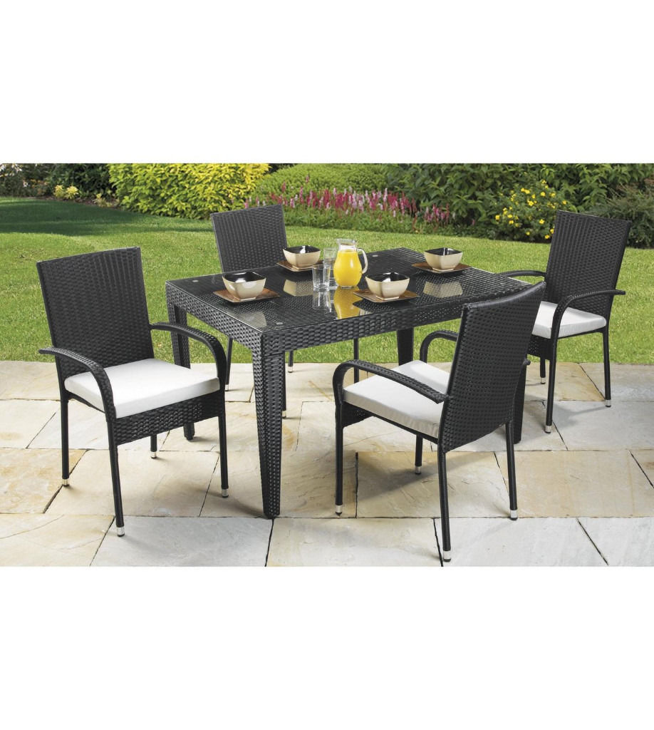 Black Rattan Effect Oblong Table With 4 Chairs Inc Cushions, Brand New