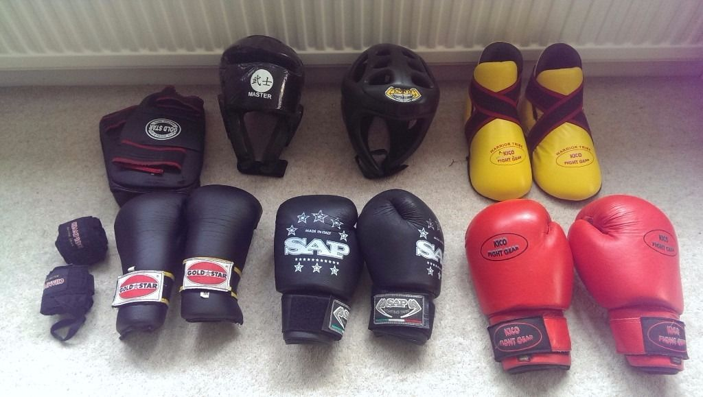 kickboxing equipment and belts