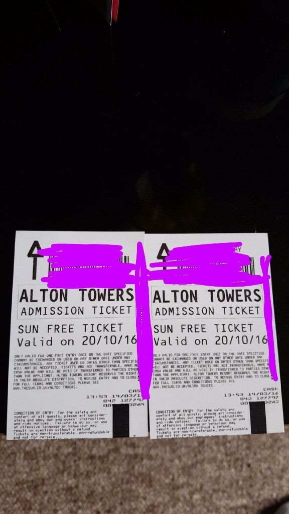 X2 alton towrrs tickets 20th october 20/10