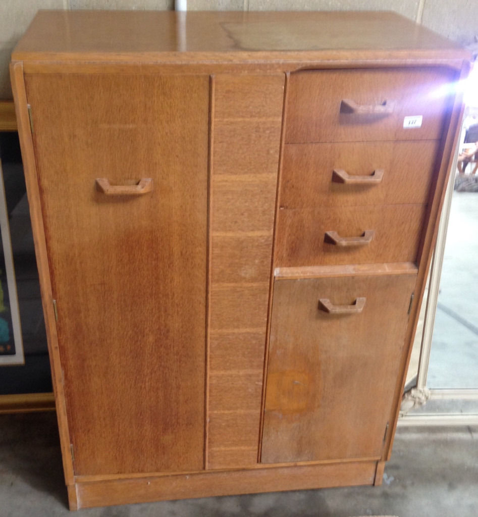 tallboy chest vintage in oak wood with hanger and drawers