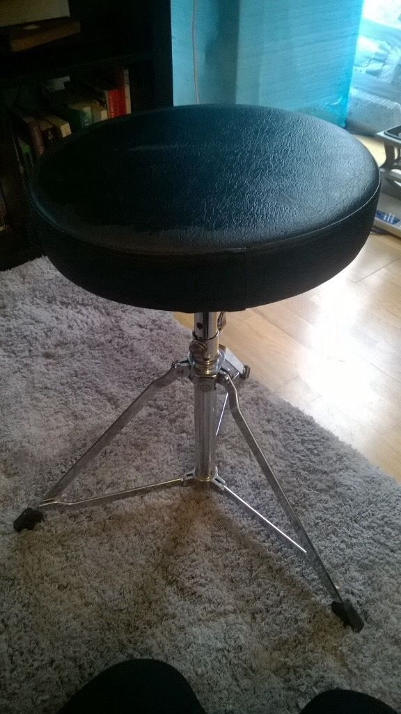 Black circular drum stool