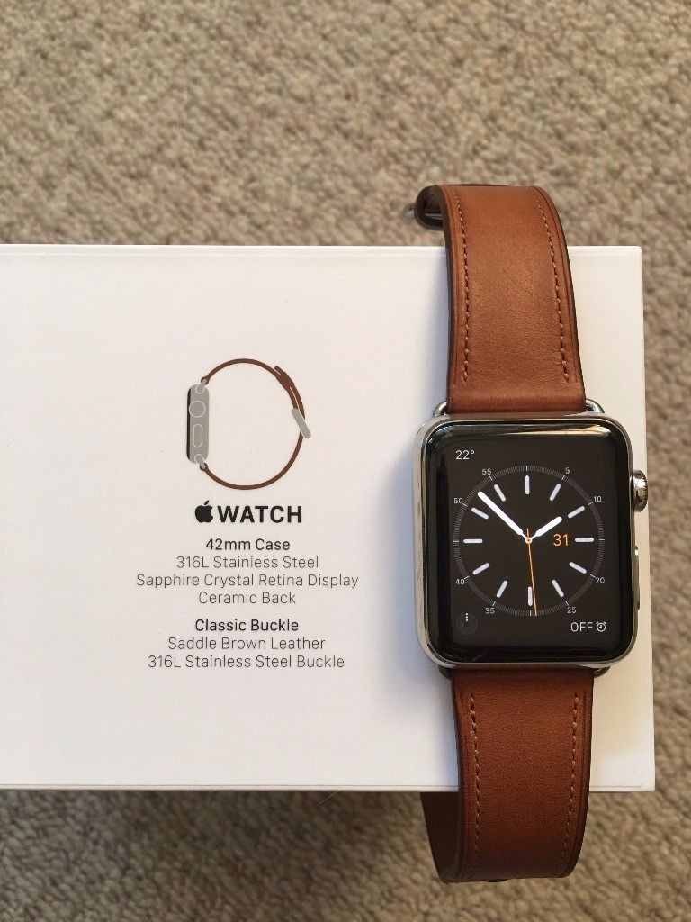 Apple Watch - 42mm Stainless Steel Case - Saddle Brown Classic Buckle