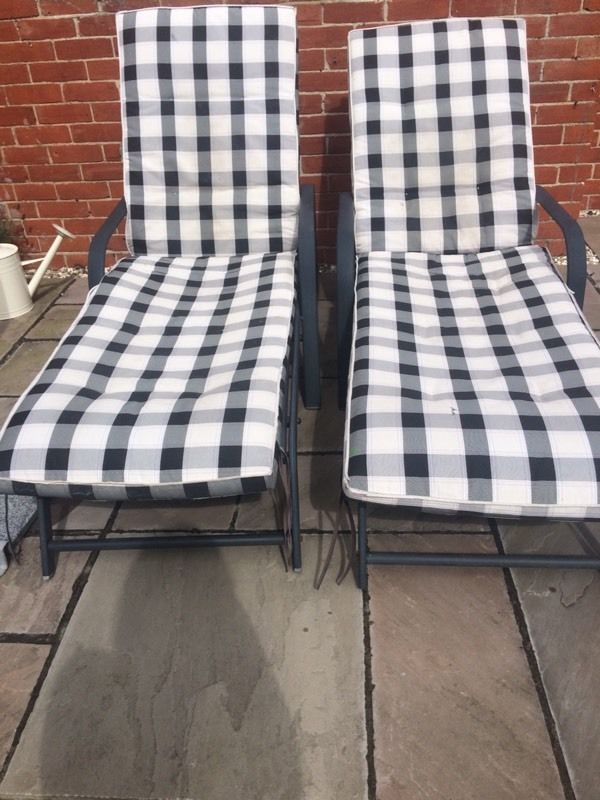2 X sun loungers with seat pads