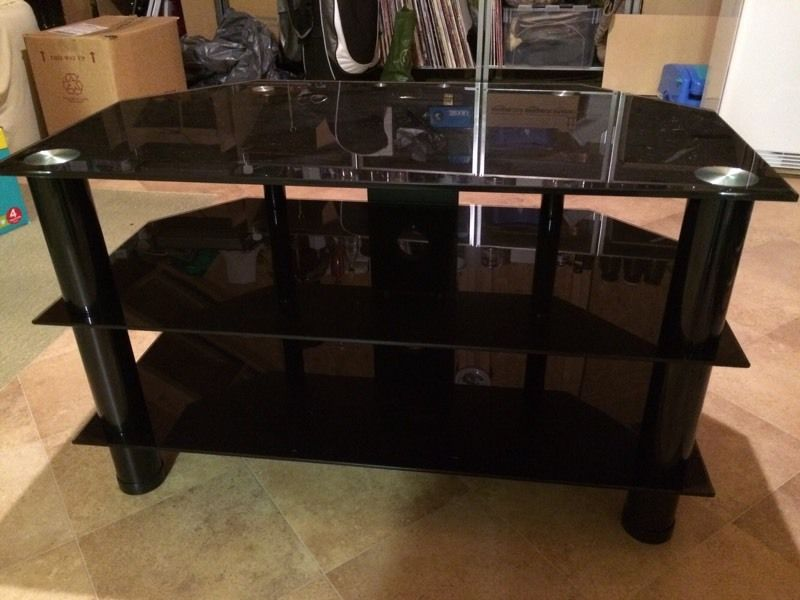 Glass tv stand black and chrome