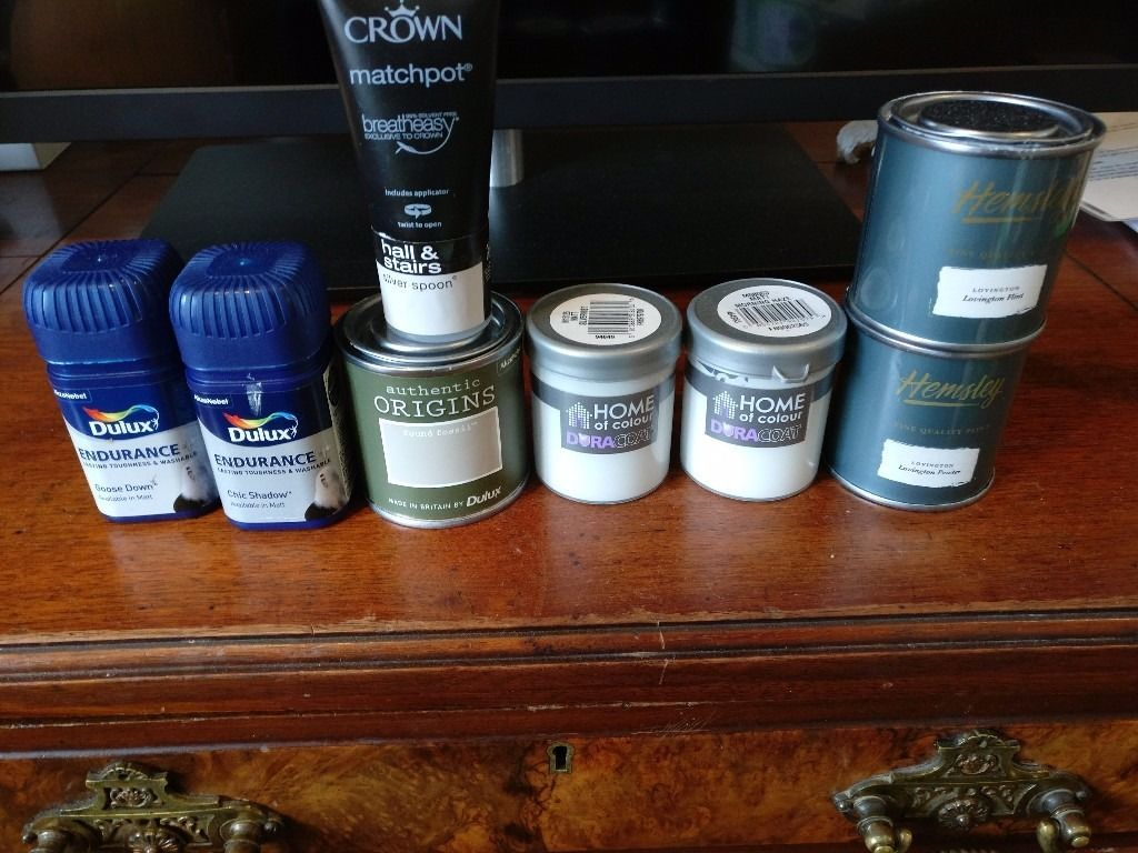 8 tester paint pots, shades of light grey