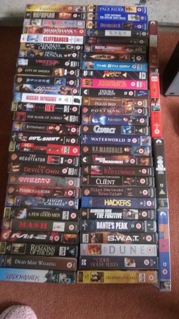 VIDEO COLLECTION VHS VIDEO TAPES;APPROX 200/ALL TYPES/GENRES.