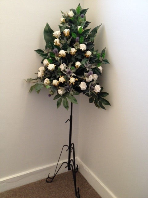 Artificial Wedding Flowers (2 large displays includes pedestal black stands) Thistles & ivory roses