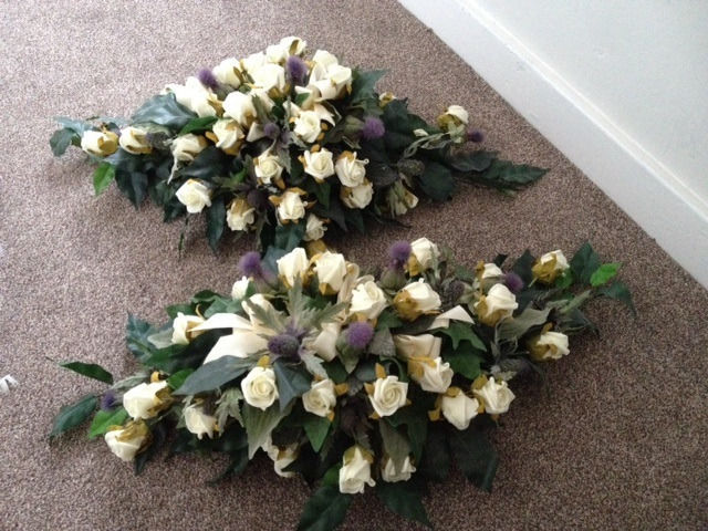 Artificial Wedding Flowers ( 2 table Displays) Thistles & ivory roses
