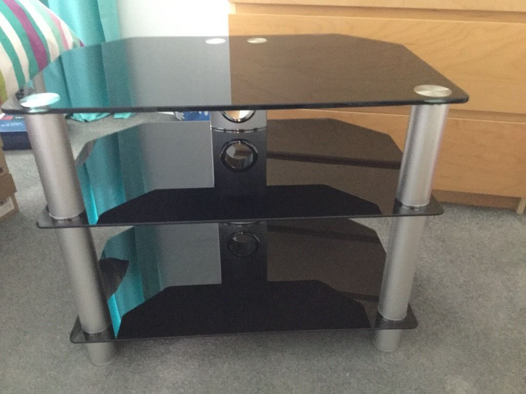 """Black glass three tier TV stand, for up to 32"""" TV."""