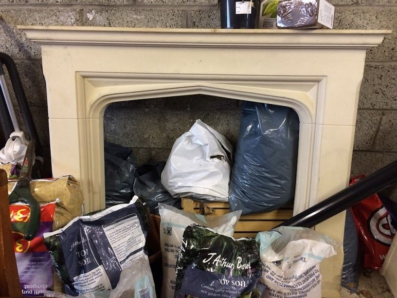 Stone effect mantlepiece