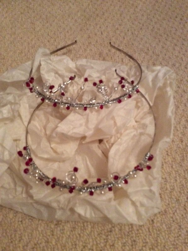 Red and clear beaded tiaras on silver bands (x2)