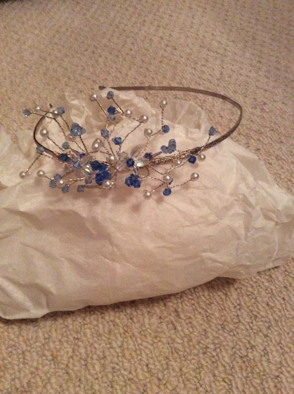 Clear and blue beaded headpiece/tiara with silver band