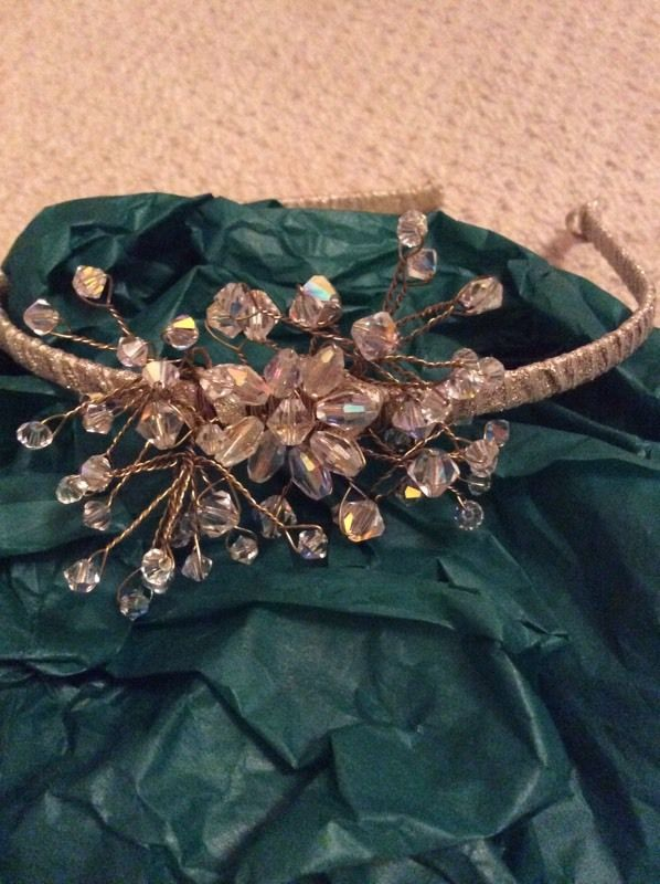 Clear beaded headpiece/tiara with covered gold band