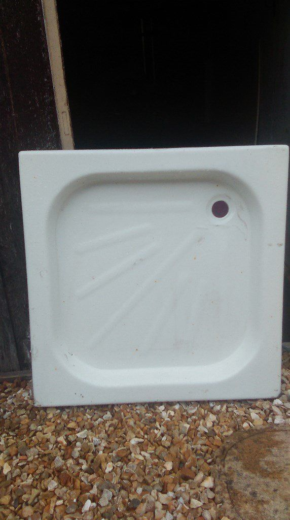 Stone shower tray brand new 75cms x 75cms - marks on outside are only on the plastic film covering