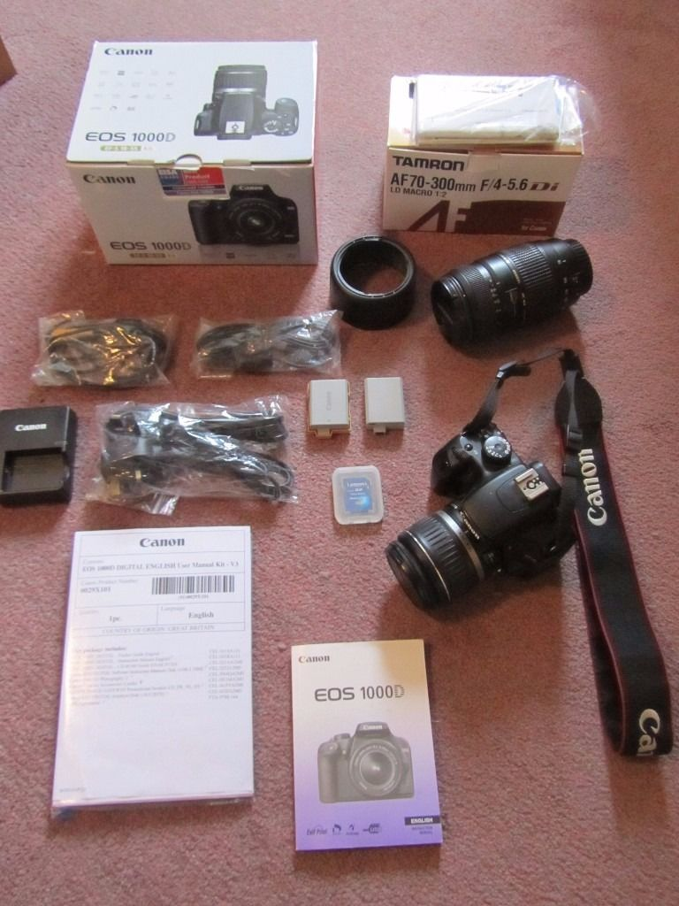Canon EOS 1000D Digital SLR Camera including 18-55mm and 70-300mm lenses and accessories