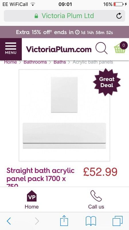 Straight Bath Panel Pack 1700 x 750
