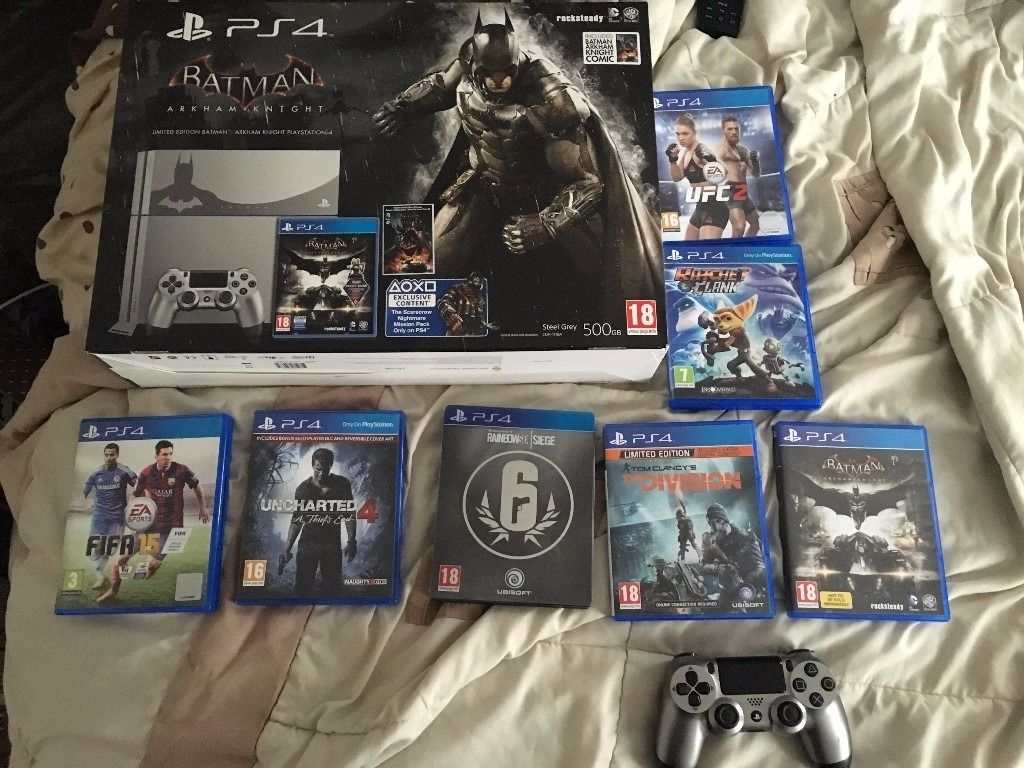 PlayStation 4 Batman: Arkham Knight bundle with guitar hero and 6 games