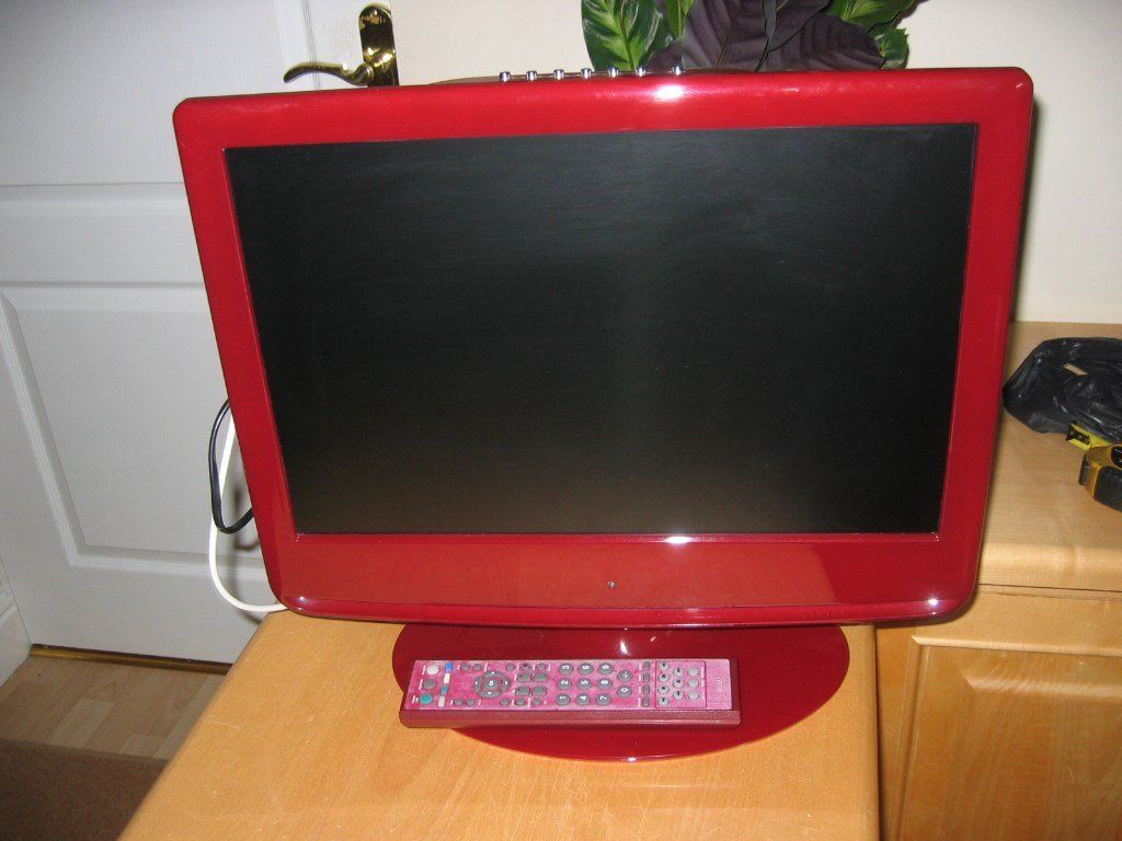 "Marks & Spencer colour red,19"" tv free view DVD built in"