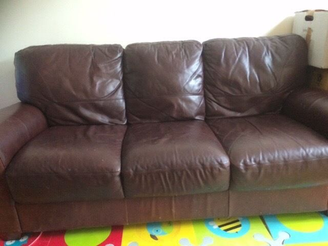 3 seater leather sofa - sold pending collection