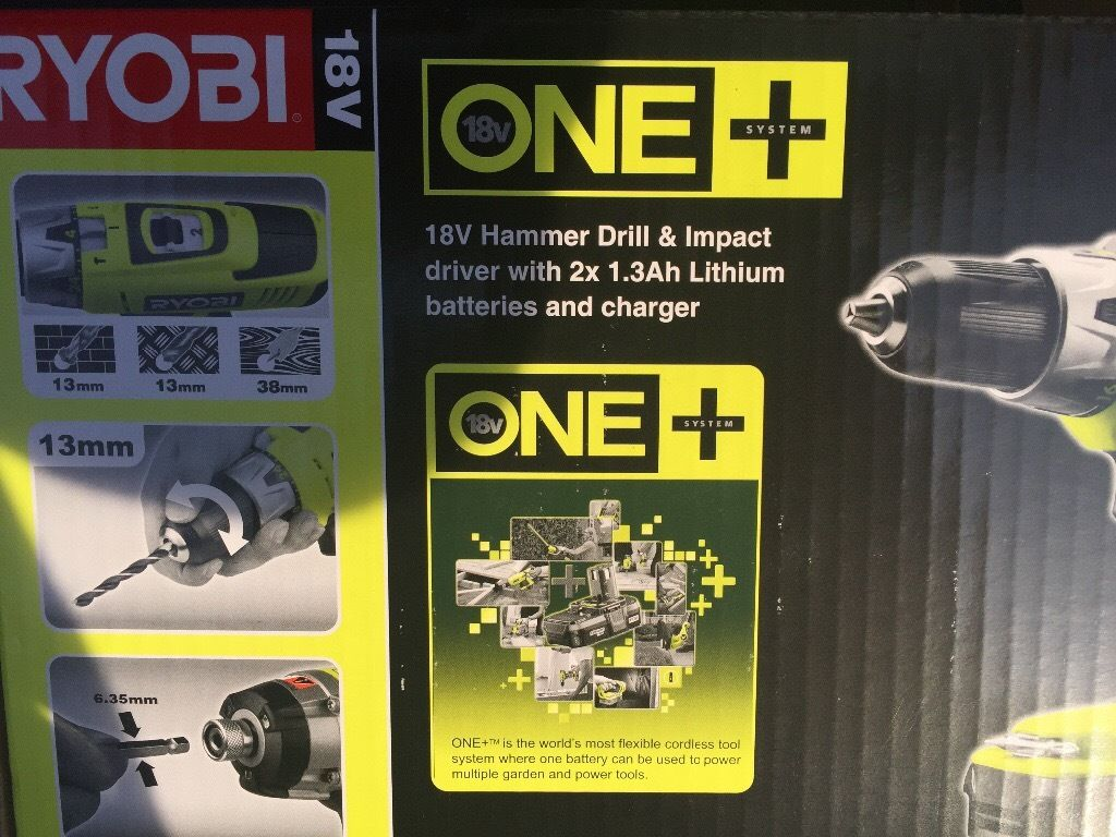 Brand new in box RYOBI 18v hammer drill and impact driver