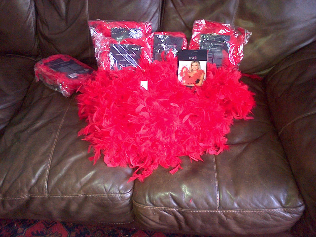Ready for your HenDo? 8 Red Feather Boas!!!