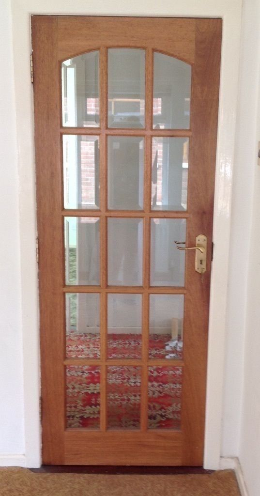 3 Interior Doors Solid Mahogany Bevelled Glass + Brass Handles,hinges,locks. bulk or individual sell