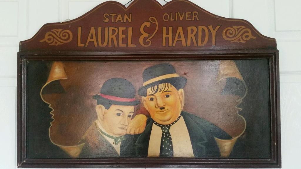 VINTAGE RARE LAUREL AND HARDY WOODEN OIL PAINTED SIGN