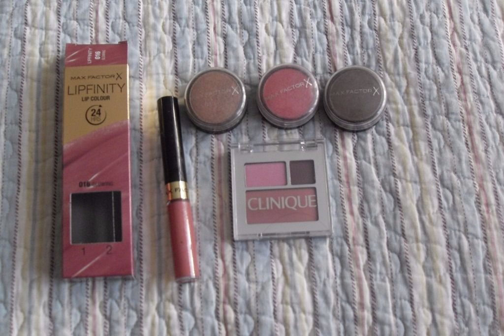 Clinique eyeshadow/blusher, Max Factor eyeshadows & Lipfinity Lipstick