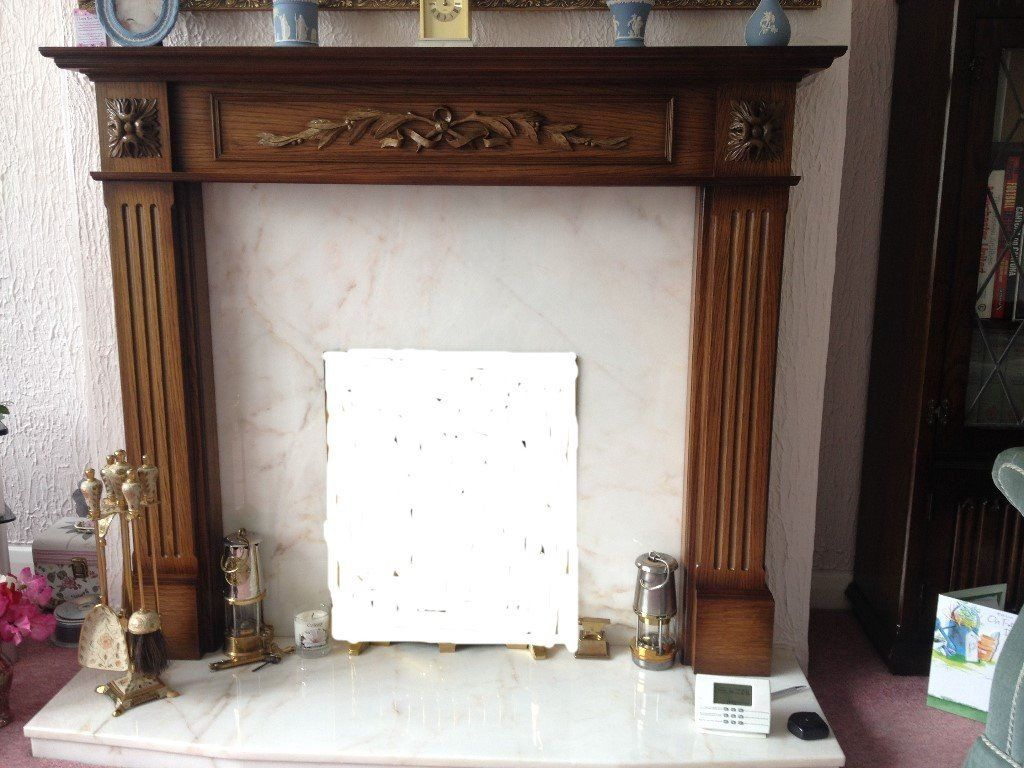 fire surround with real marble back and hearth