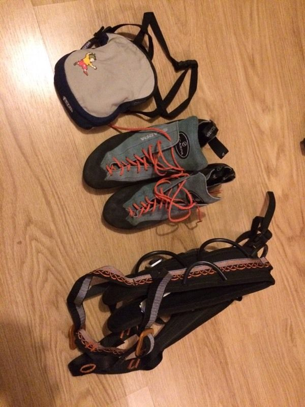 Climbing shoes, harness and chalk bag