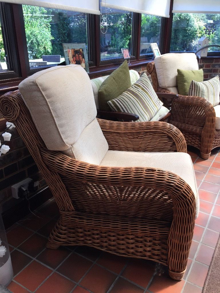 Wicker armchairs, x2 exec condition. Hardly used, very comfortable,