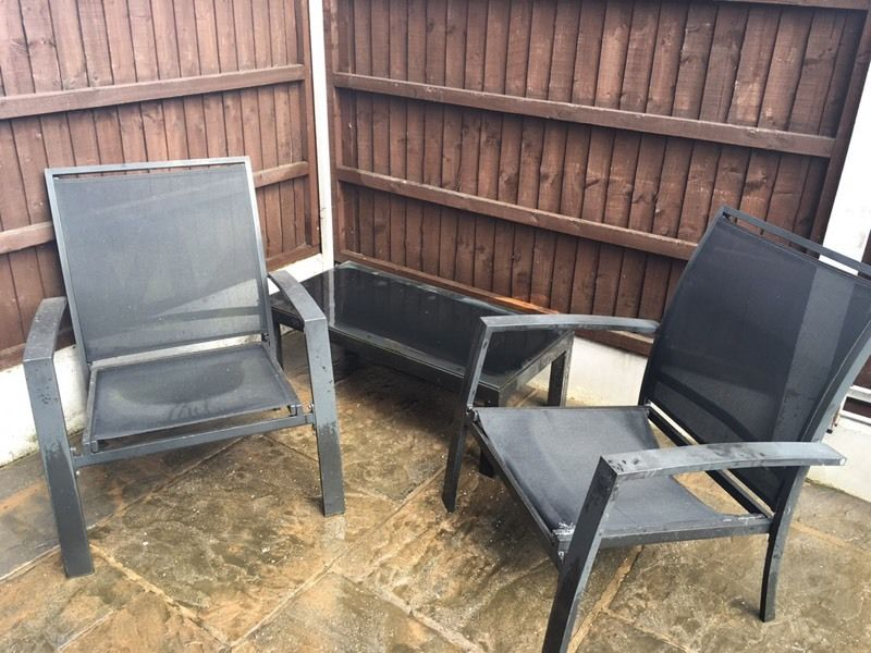 Black glass top coffee table & chair garden furniture set