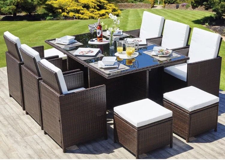 Rattan garden furniture set chairs table outdoor patio wicker 10 seat