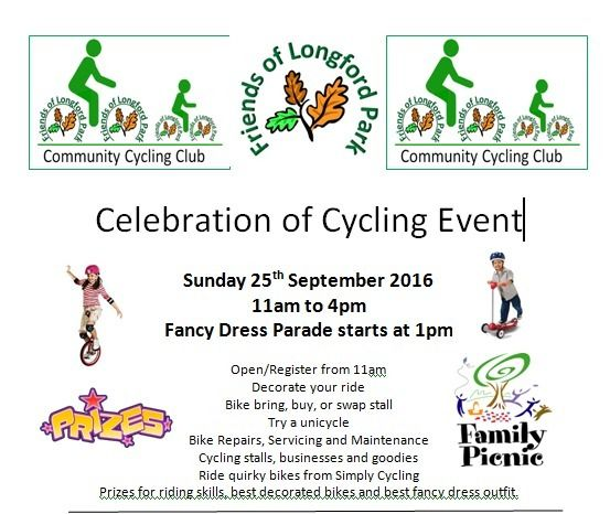 Community Cycling Event - 25th Sept - Longford Park Stretford 11am - 4pm