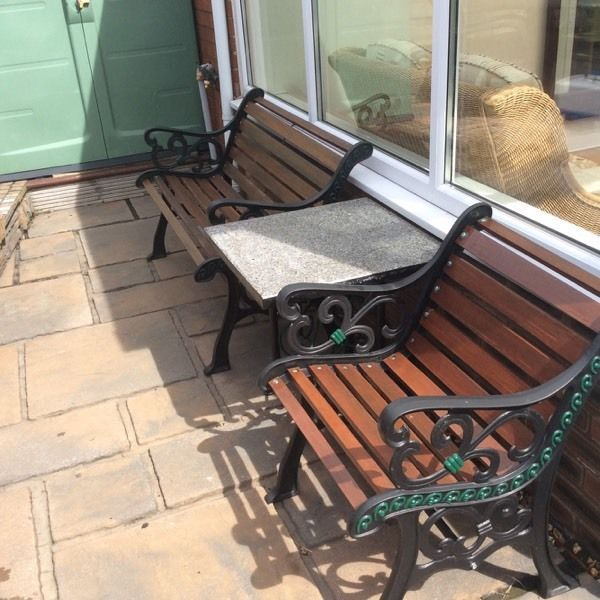 Cast iron garden bench set