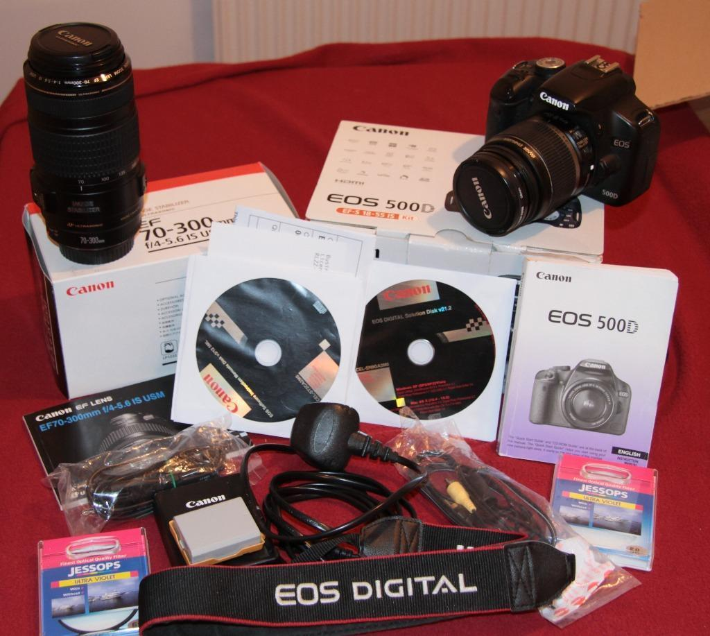 Canon 500d 18-55 lens 70-300 is usm lens and extras
