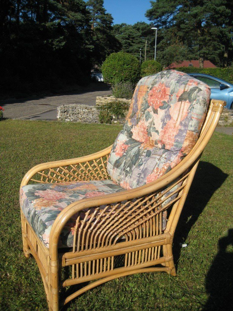 Two excellent conservatory chairs with cushions