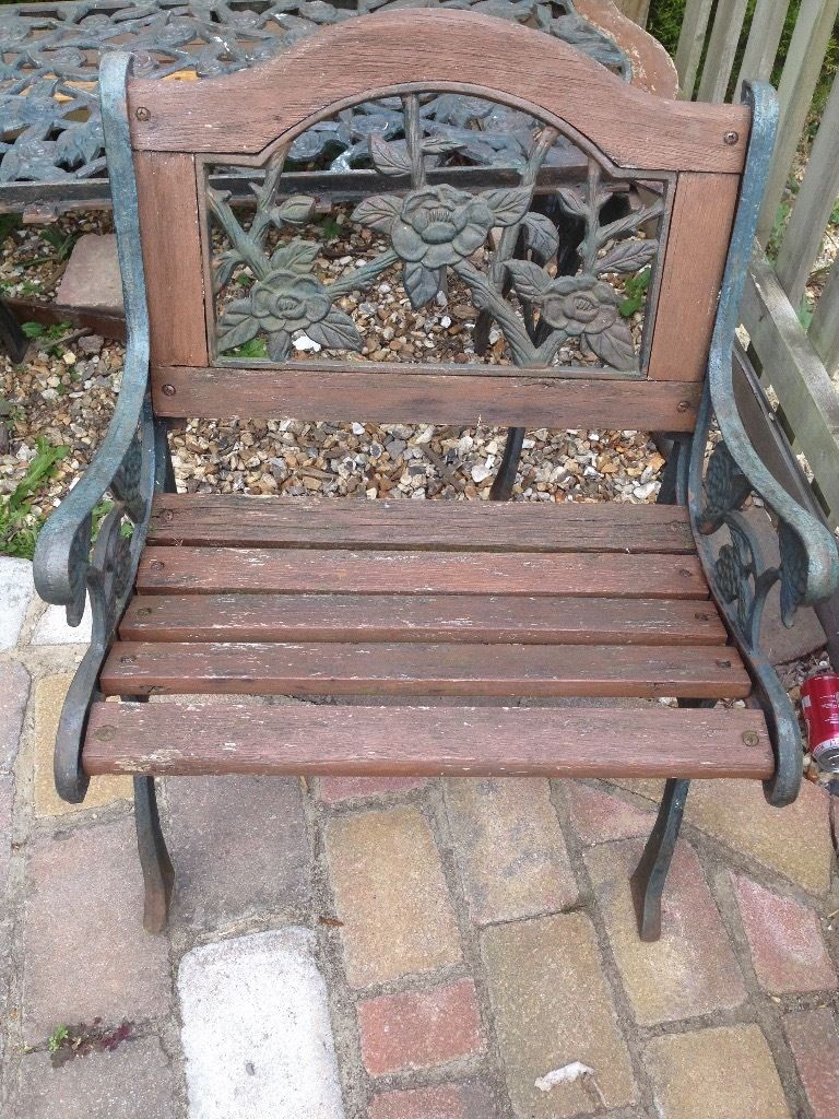 Cast iron bench two chairs and table refurb project